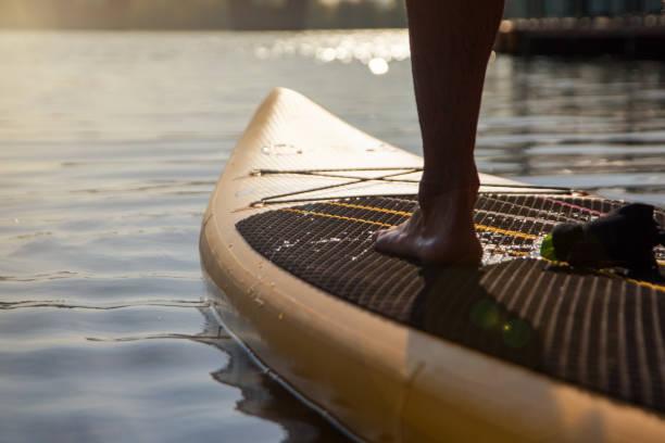 Paddleboarding on lake during sunset stock photo