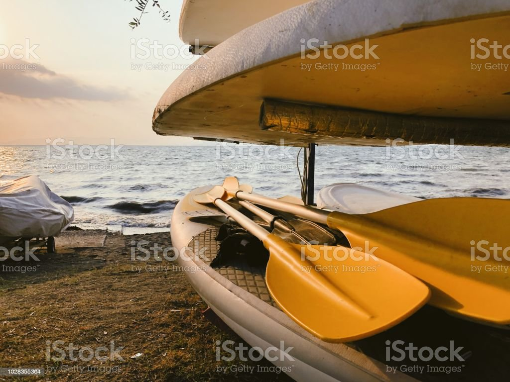 Paddleboards near the sea stock photo