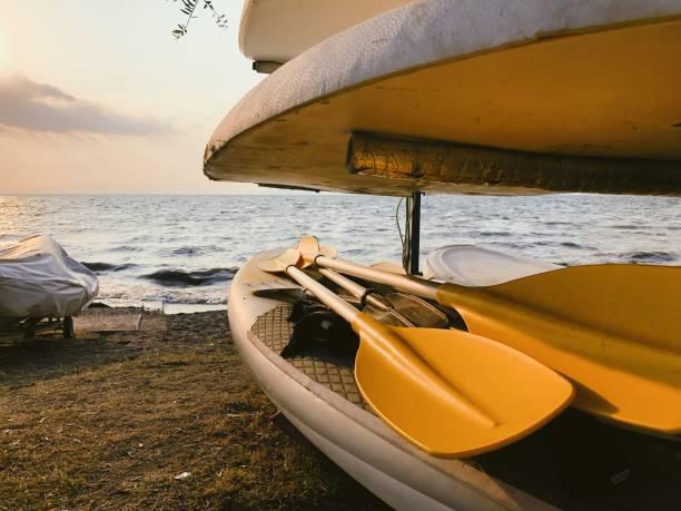 Paddleboards near the sea stock photo