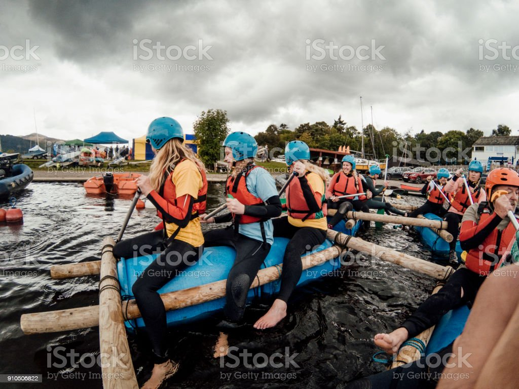 Paddling a Raft stock photo