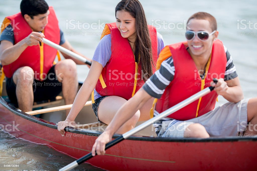 Paddling Along the Water stock photo