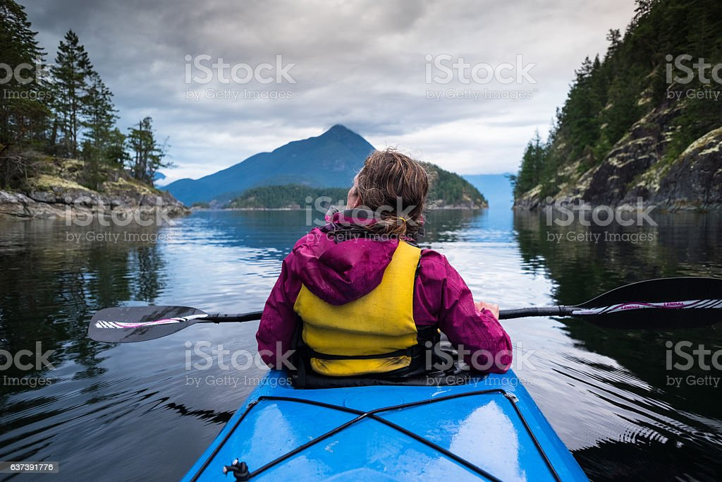 Paddling in Deolation Sound British Columbia stock photo