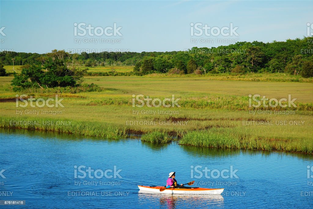 Paddling on Payne's Creek, Cape Cod stock photo