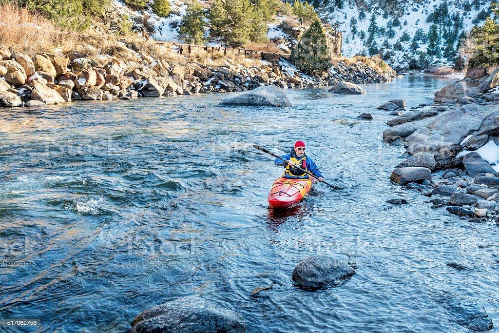 paddling whitewater kayak stock photo
