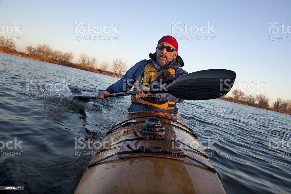 paddling workout in a sea kayak stock photo