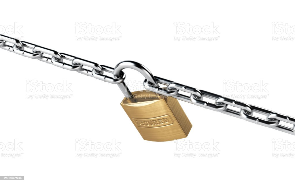 Padlock and Chain Isolated on White Background stock photo