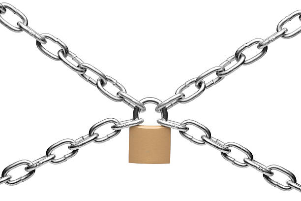 Padlock and chain Padlock and chain isolated on white background padlock stock pictures, royalty-free photos & images
