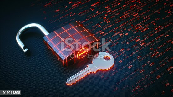 Close up on a key and padlock lying on a red binary code surface. The padlock is unlocked and displays a glowing grid.
