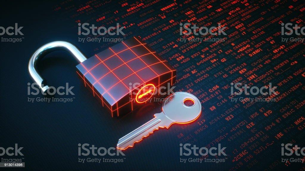 Schloss und Schlüssel auf einem roten digitale Oberfläche – Foto