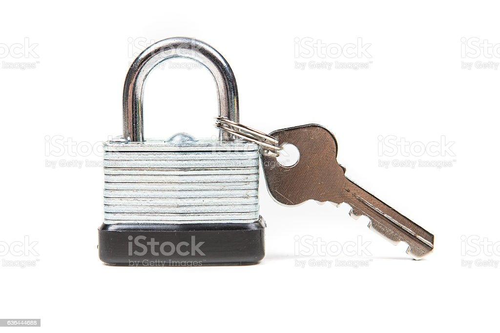 Padlock and keys isolated on white background stock photo