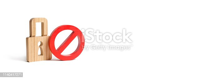 istock Padlock and symbol No on an isolated background. Prohibit encryption and access to personal information and correspondence. The concept of protection of personal rights and freedoms. Banner 1140417271