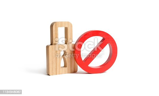istock Padlock and symbol No on an isolated background. The concept of protection of personal rights and freedoms. Prohibit encryption and access to personal information and correspondence. 1134948082
