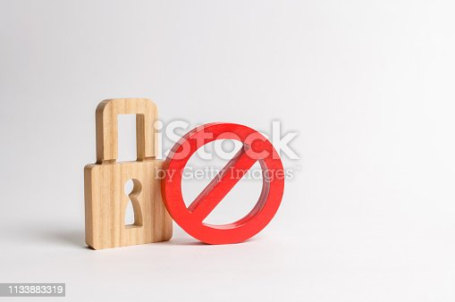 istock Padlock and symbol No. The concept of protection of personal rights and freedoms. Prohibit encryption and access to personal information and correspondence. Passwords and authentication 1133883319