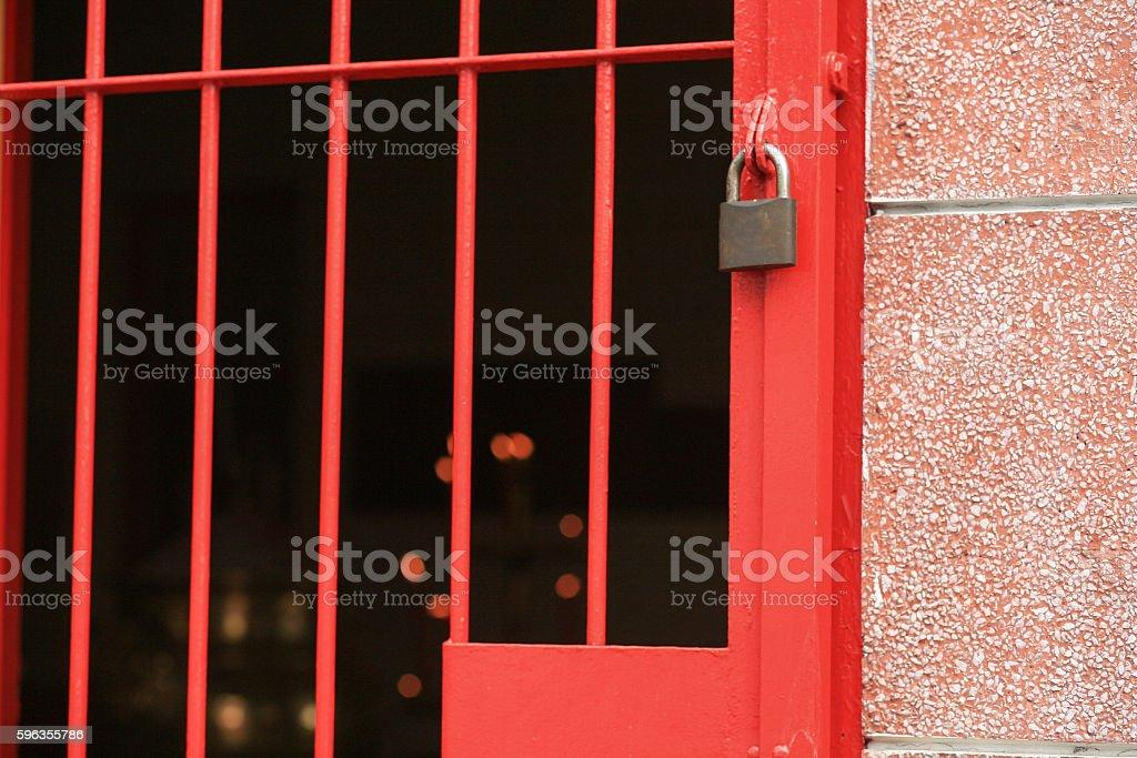 Padlock at entrance door royalty-free stock photo