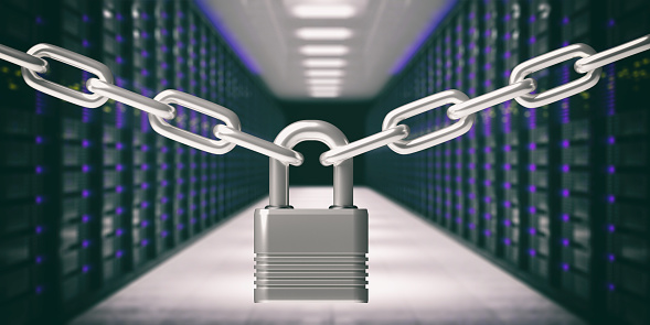istock Padlock closed and chains, data center background.  3d illustration 1208154629