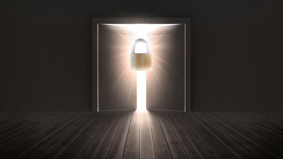 Foto de Cadeado Na Entrada De Porta Para Luz Brilhante e mais fotos de stock de Abrindo