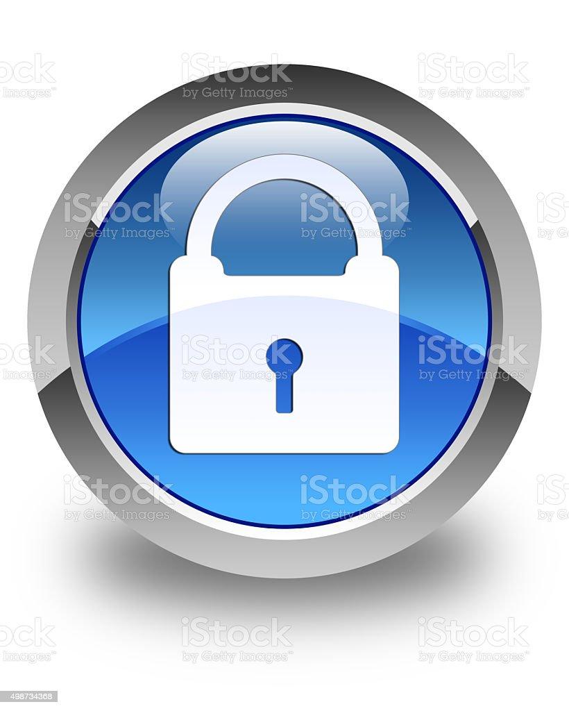 Padlock icon glossy blue round button stock photo