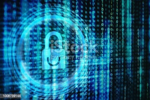 1001827816 istock photo padlock icon on LED computer display screen with binary code moving in the background. password and data privacy protection in internet data transfer concepts. cyber network security blue color. 1008739144