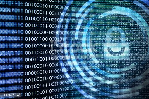 istock padlock icon on LED computer display screen with binary code moving in the background. password and data privacy protection in internet data transfer concepts. cyber network security blue color. 1008739148