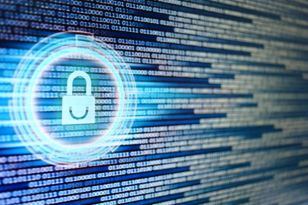 padlock icon on LED computer display screen with binary code moving in the background. password and data privacy protection in internet data transfer concepts. cyber network security blue color. stock photo