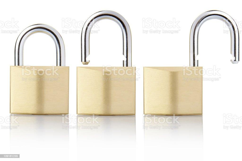Padlock locked and unlocked stock photo