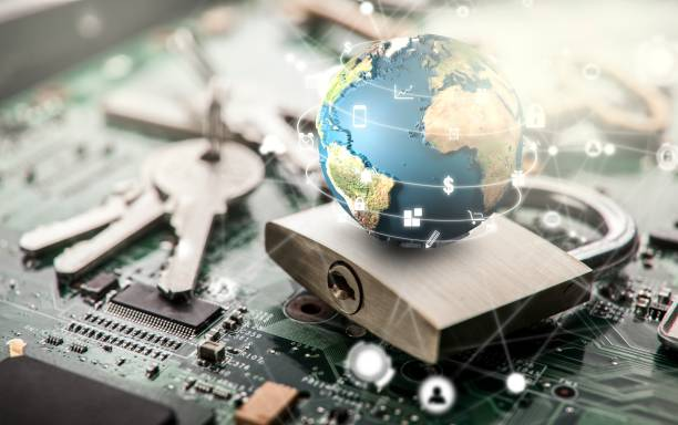 Padlock on computer circuit board.Security concept.Elements of this image furnished by NASA stock photo
