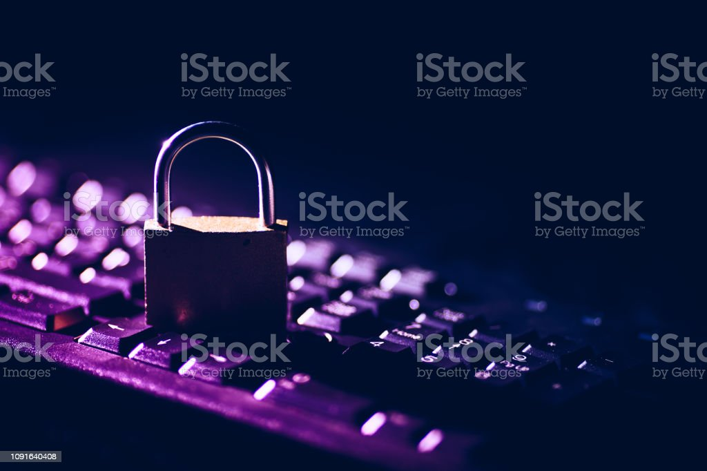 Padlock on keyboard. Internet data privacy information security...
