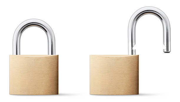 Padlock open and closed. stock photo