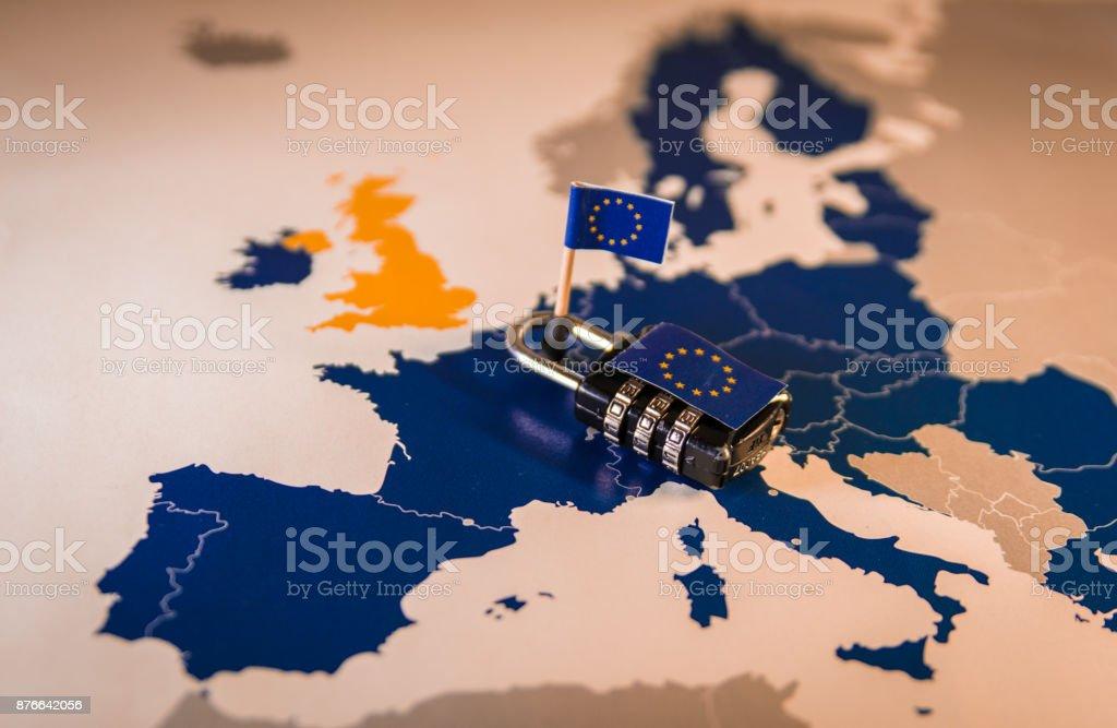 Padlock over EU map, GDPR metaphor royalty-free stock photo