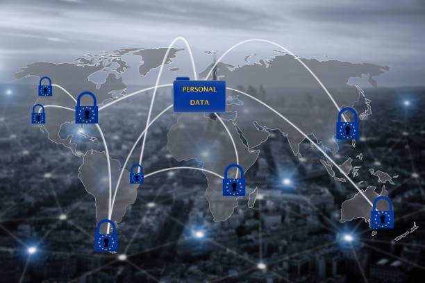 Padlock over EU map, symbolizing the EU General Data Protection Regulation or GDPR. Designed to harmonize data privacy laws across Europe. stock photo