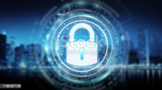 istock Padlock security interface protecting datas isolated on blue background 3D rendering 1195267129