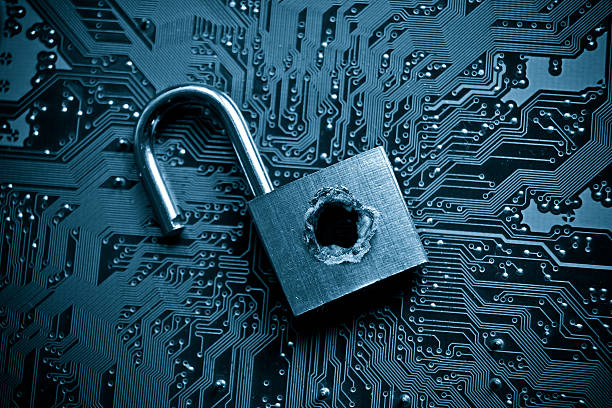 Padlock to represent computer security breach stock photo