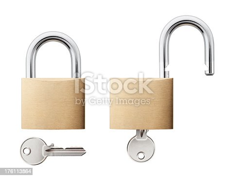 Padlock with key open and closed. Photography in high resolution.