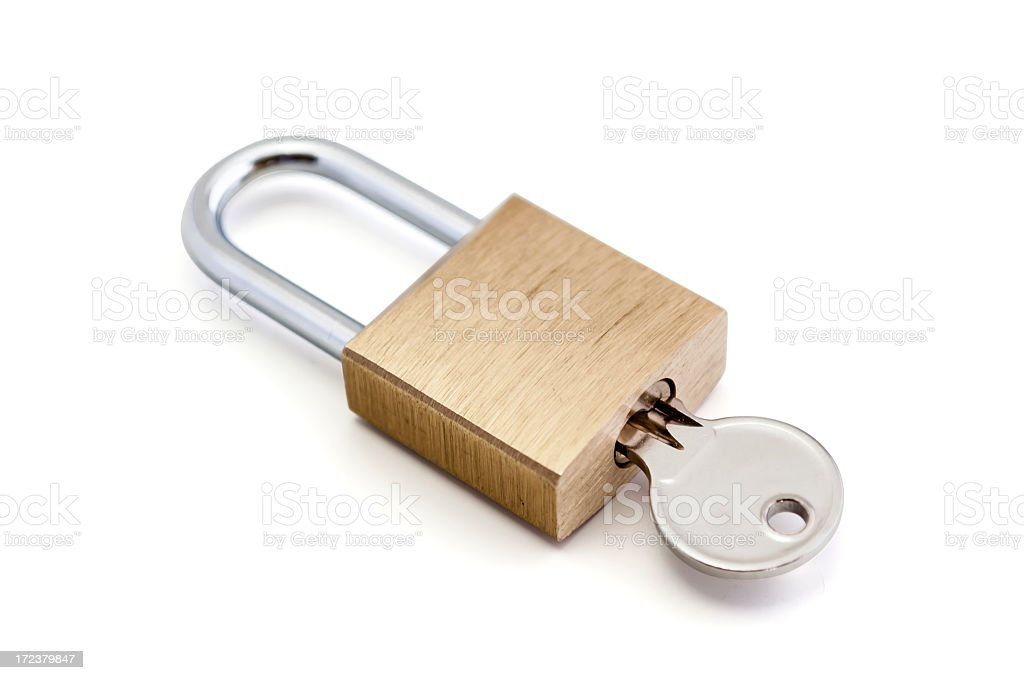 Padlock with key royalty-free stock photo