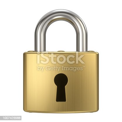 3d rendered padlock with keyhole