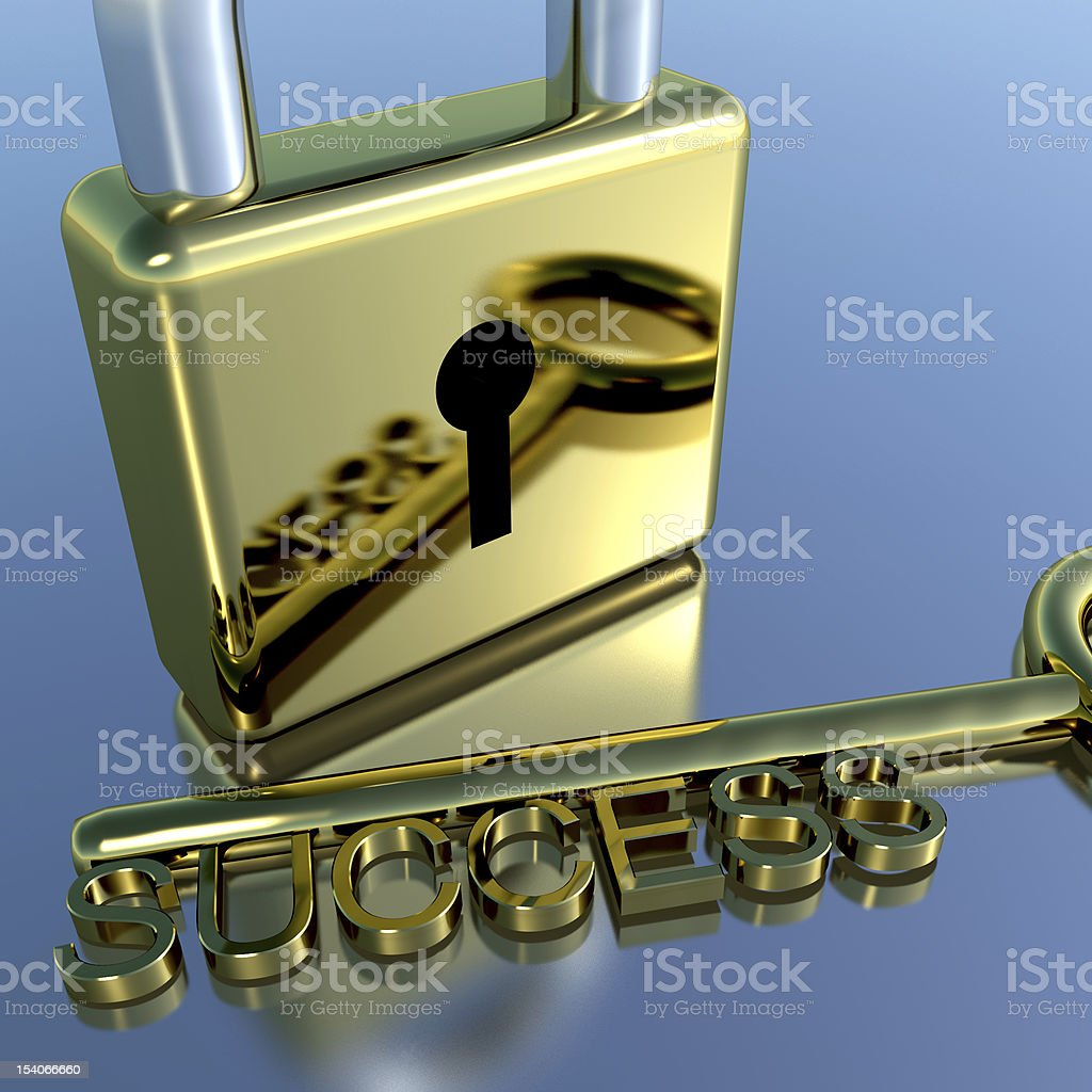 Padlock With Success Key Showing Strategy Planning And Solutions royalty-free stock photo