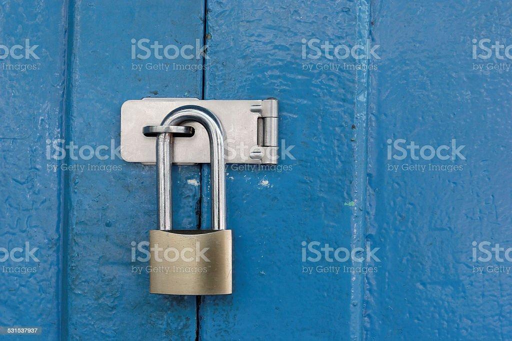 Padlocked gate. stock photo