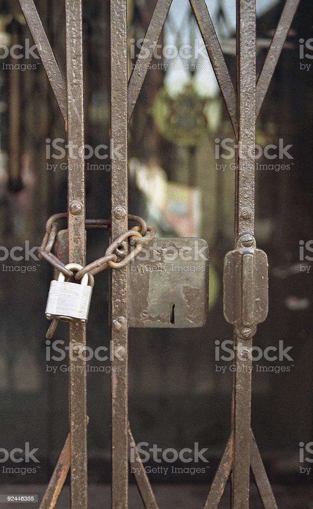 Padlocked Steel Railings  Gate Stock Photo