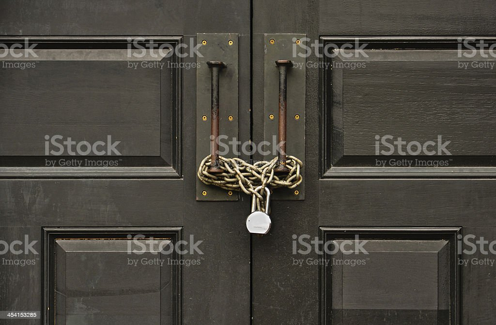 padlocked wooden door royalty-free stock photo