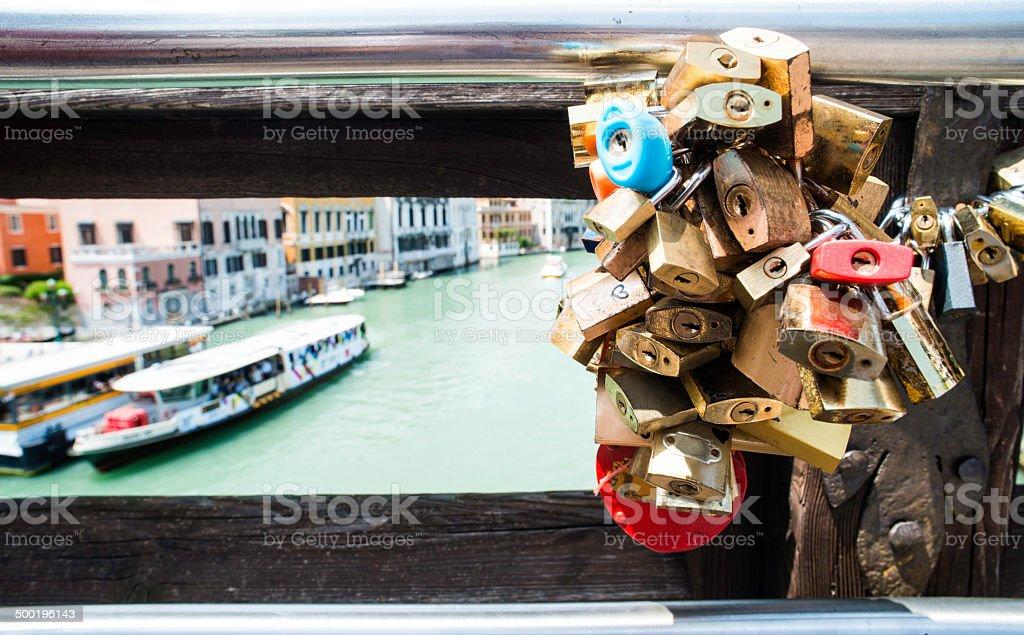 Padlocks of lovers placed on the bridge stock photo