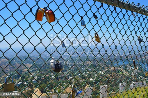 Looking through fence behind the Hollywood sign with padlocks.