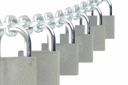 Group of padlocks on a chain.
