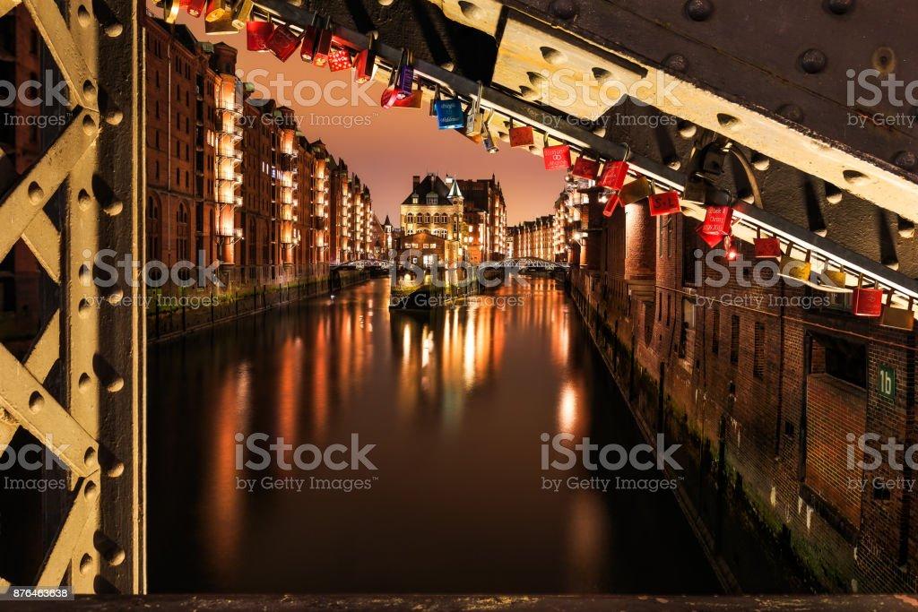 Padlocks on the Poggenmöhlenbrücke near Wasserschloss Hamburg Hafencity stock photo