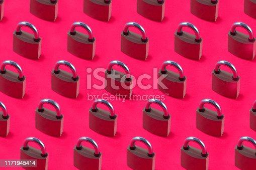 Padlocks on pink background