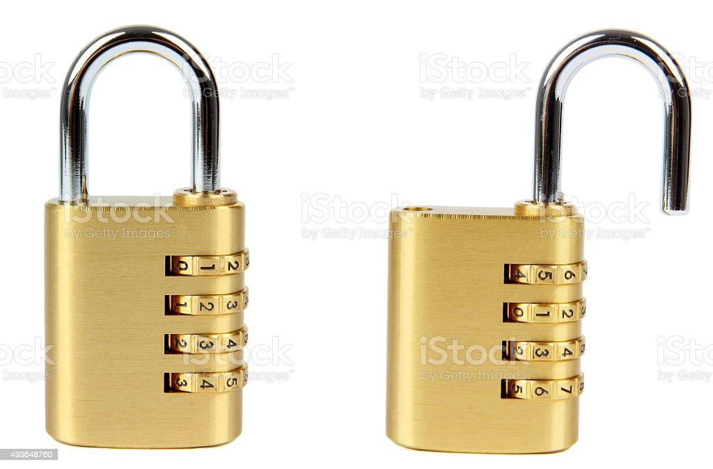 padlocks with combination lock stock photo