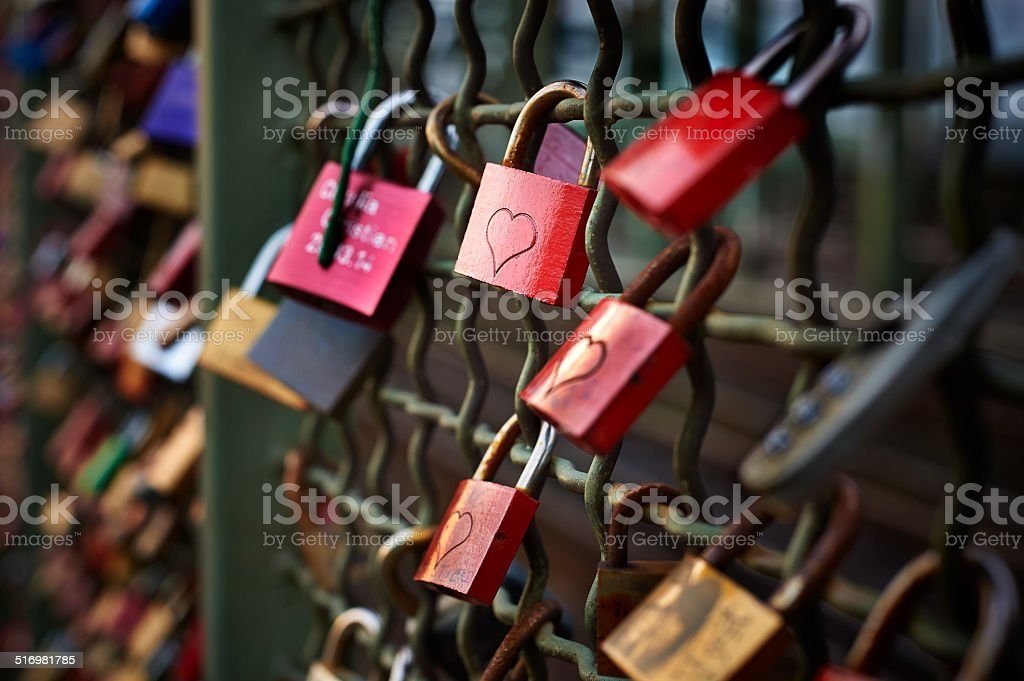Padlocks with hearts symbolicing love stock photo