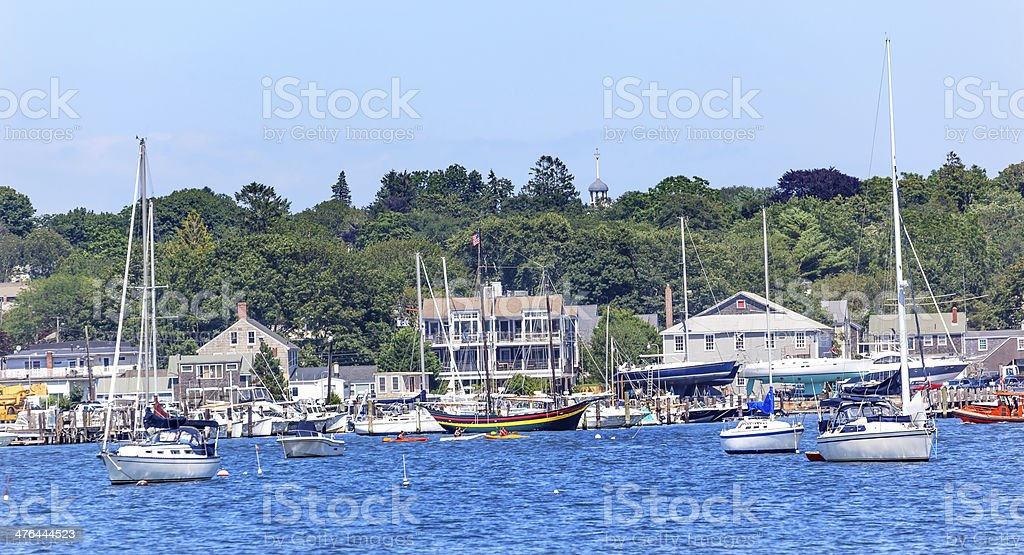 Padnaram Harbor Boats Schooner Dartmouth Massachusetts stock photo