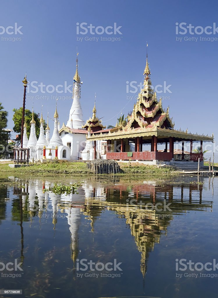 Padogas of Buddhist monastery - Inle lake royalty-free stock photo