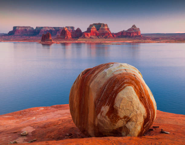 Padre Bay Rock in Lake Powell stock photo