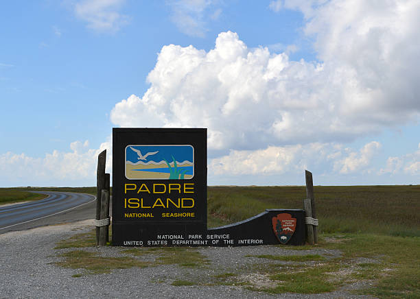 Padre Island Sign on a Cloudy Day stock photo